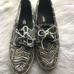 Sperry Top Sider animal print boat shoes